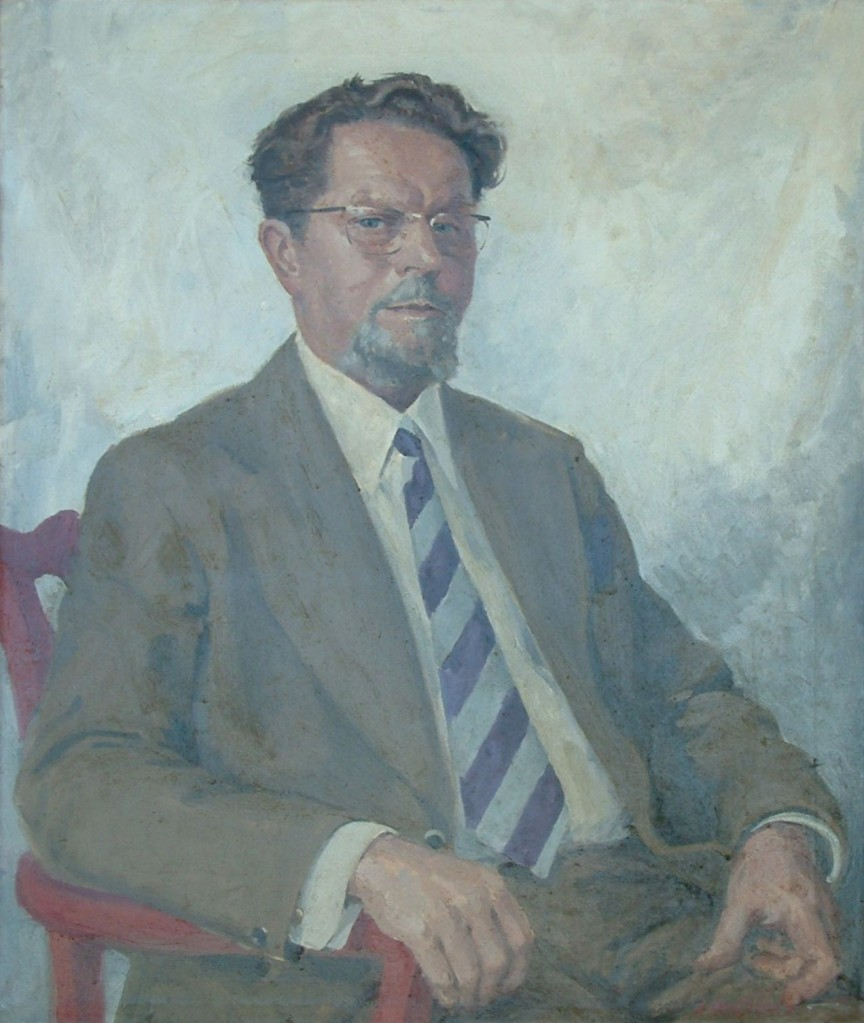 Dr. W Grey Walter's portrait as it appears in the foyer at the BNI