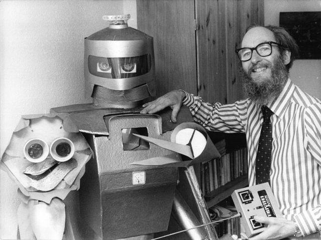 UNITED KINGDOM - 1980: Peter Holland's 'Mr Robotham the Great' is a 6 foot tall walking, talking robot who can also shake hands, bend knees to sit, and all functions are operated by radio control in 1980 in United Kingdom. (Photo by Gamma-Keystone via Getty Images)