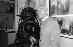 Jacques Cousteau With Old Diving Suit