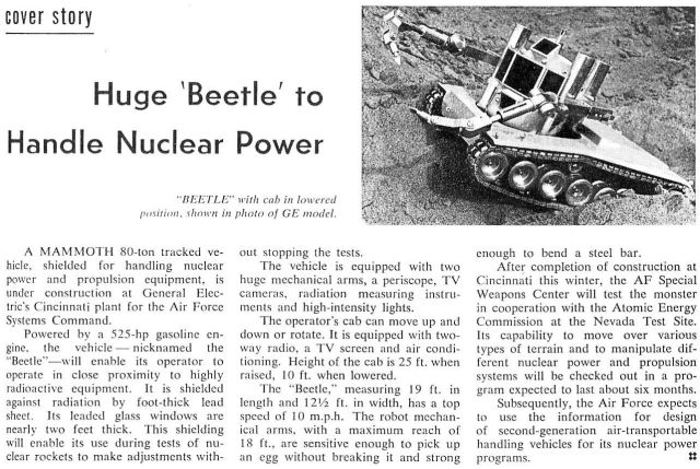 Beetle announce x640 1958 62   Beetle Mobile Manipulator   G.E. Corp. (American)