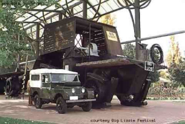 Big Lizzie vs land rover x640 1912   Dreadnought Wheel and Big Lizzie   Frank Bottrill (Australian)