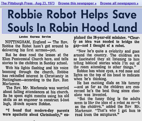 robbie robot church 73 1973   Robbie the Pulpit Robot   Rev. Ron Mackenzie (British)