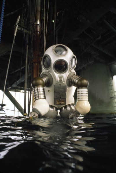 An informal portrait of the Jim suit, a scuba diving contraption