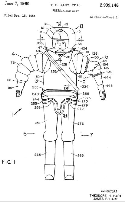 HART pressurized suit pat 1 1954   Pressure Suit   James Hart and Theodore Hart  (American)