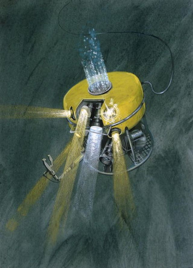 Painting of remotely piloted submersible used in underwater