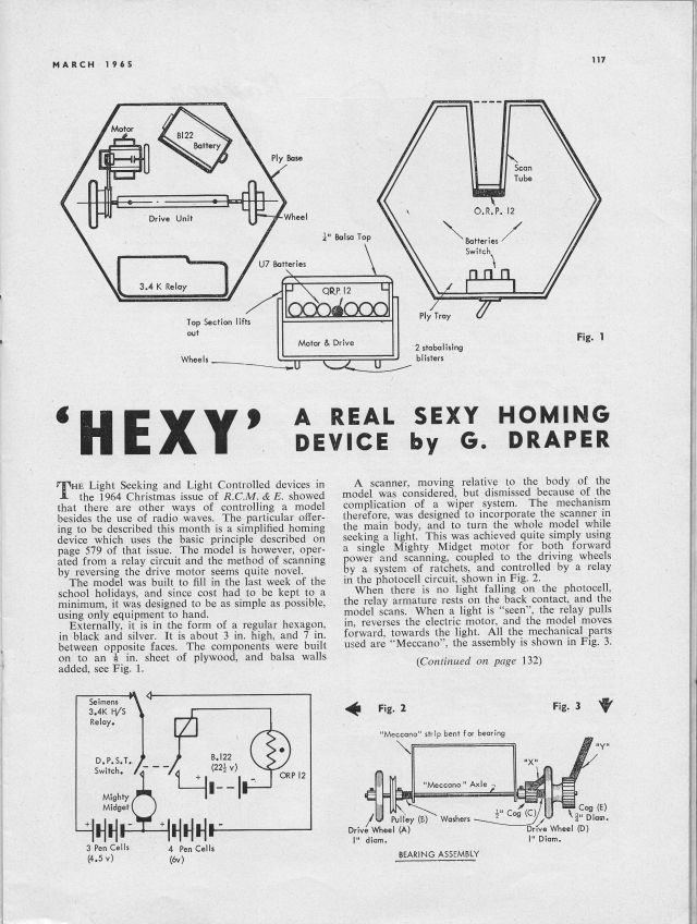 Hexy RCMEMar65p1 x640 1965   Hexy   a light seeking robot   G. Draper (British)
