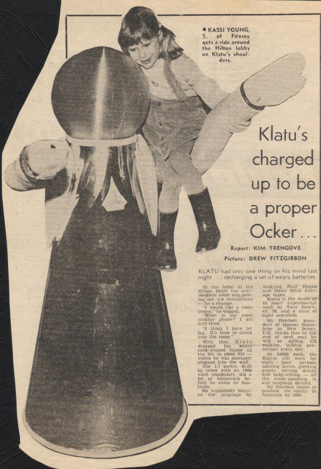 Klatu robot Quasar JUn78 x640 1977   Klatu the Household Android   Quasar Industries (American)