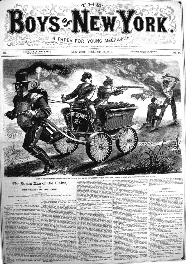 STEAM MAN  v1 28Feb1876 x640 1868 1904   Fictional Steam Man, Steam Horse, Electric Man & Electric Horse (American)