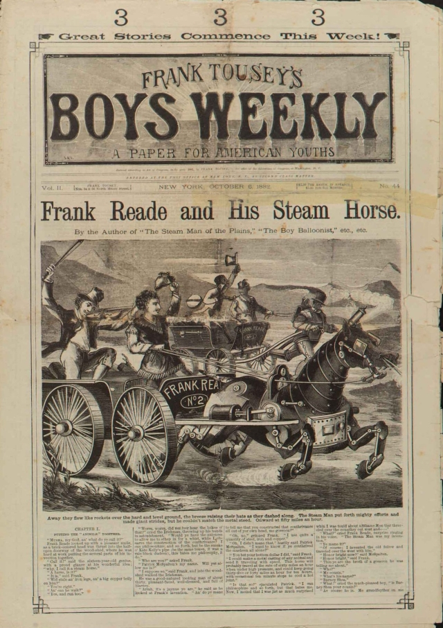 SteamHorseReade x640 1868 1904   Fictional Steam Man, Steam Horse, Electric Man & Electric Horse (American)