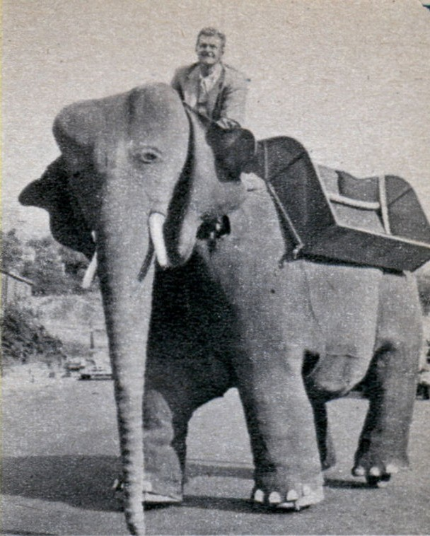 Wendelken on mechanical elephant 1951   Mechanical Elephants by Frank Stuart in America