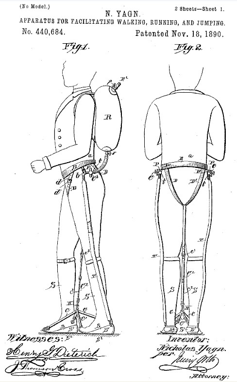 Yagn 1890 exoskeleton 1890   Assisted walking Device   Nicholas Yagn (Russian)