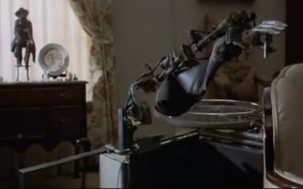 demon seed broken arm 1 x640 1977   Joshua the wheelchair Robot from Demon Seed   (American)