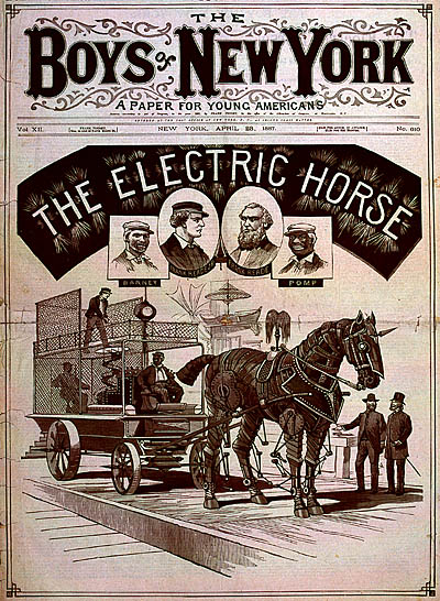 electric horse 1887 1868 1904   Fictional Steam Man, Steam Horse, Electric Man & Electric Horse (American)