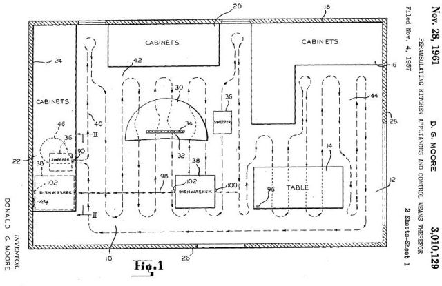 Moore Whirlpool vacuum cleaner patent 2a x640 1957   HECK and Robot Floor Cleaner   Donald G. Moore   RCA / Whirlpool (American)