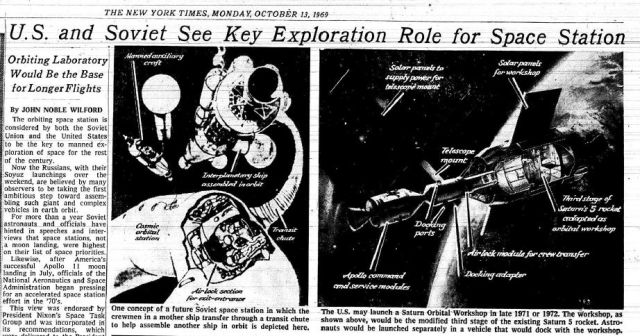 Soviet space station NYT 13Oct1969 x640 1962   Manned Auxillary Fitter Craft with Mandible (Concept)   Sperry Gyroscope Company (American)