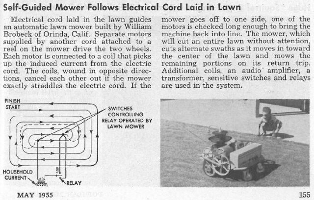 brobeck mower popmech may55 x640 1954   Radio controlled Lawnmower   William M. Brobeck (American)