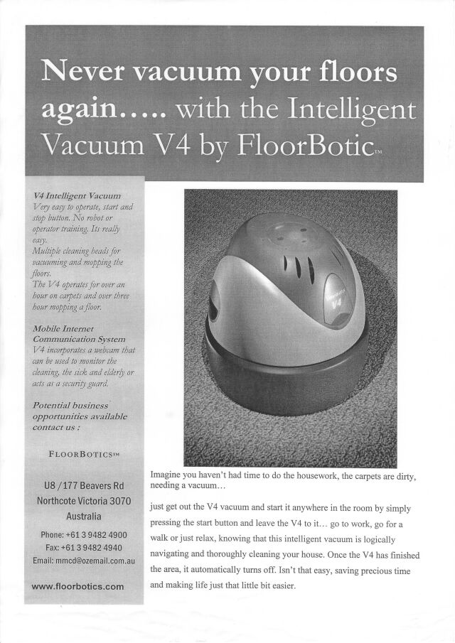 floorbotics brochure b W 1991/2002   Floorbotics Robotic Vacuum Cleaners   G. T. Duncan Ashworth (Australian)