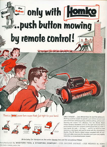 homko remote mower 1954   Homko Robot Remote controlled Lawnmower   (American)