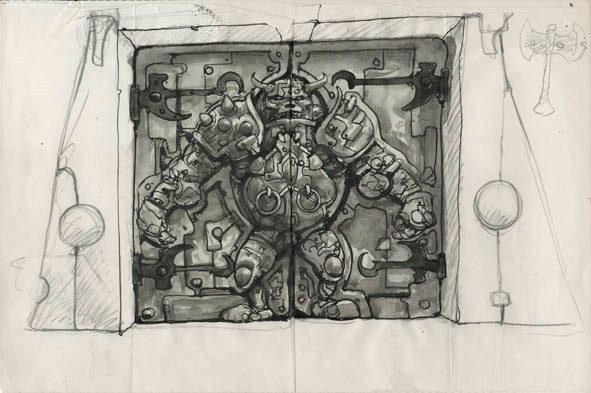 humungus door sketch 1986   Humongous (Labyrinth)   Jim Henson (American) / George Gibbs (British)