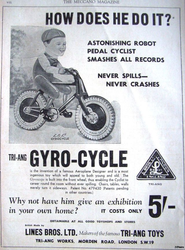 gyro cycle ad x640 1936   The Gyro Cycle   Hubert Charles Henry Townend (British)