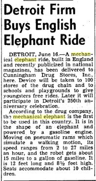 1951   Mechanical Elephants by Frank Stuart in America