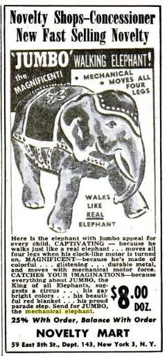 mech Elephant toy Billboard14may1949 x640 Mechanical Elephants   Toys and Automata