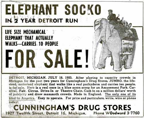mech elephant billboard 18Jul1953 1951   Mechanical Elephants by Frank Stuart in America