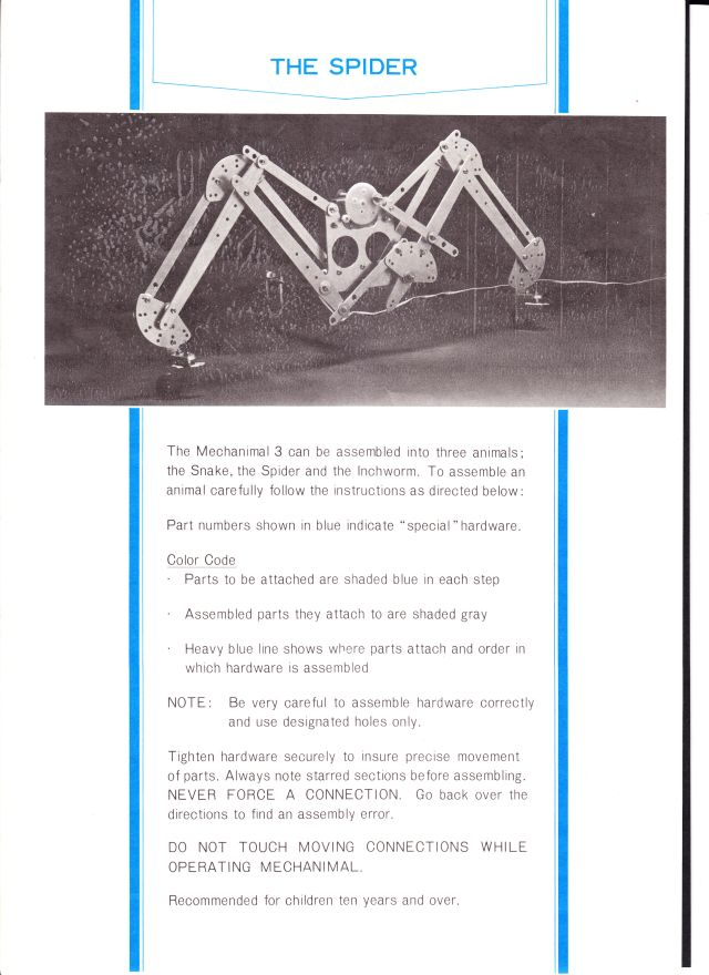 mechanimal spider instructions x640 1968   Mechanimals Walking Models   Masahiro Mori and Ryuichi Tomiya (Japanese)