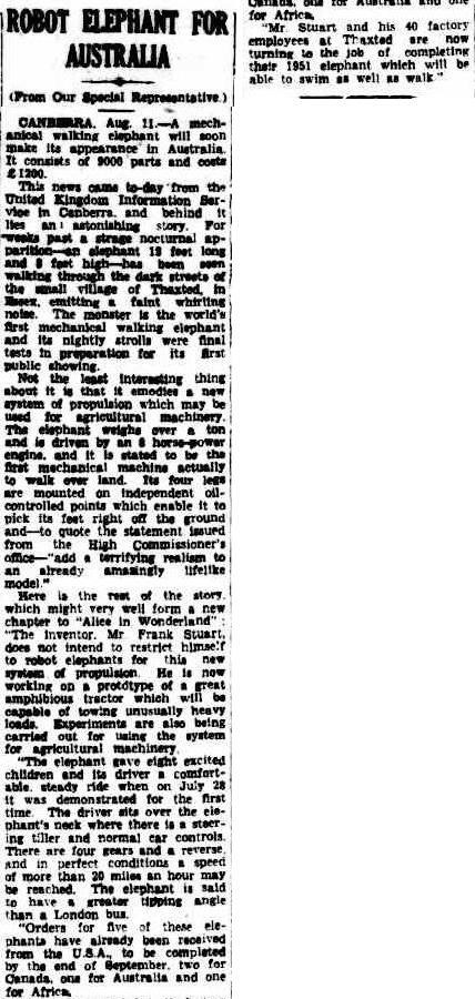 nellie cairnsPost17Aug1950 1949 50   Mechanical Elephant   Frank Stuart (British)