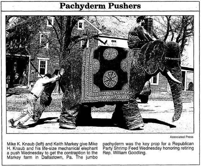 nellie markey dailynewsrecord2mar2000 x640 1950   Nellie the Mechanical Elephant   Frank Stuart (British)