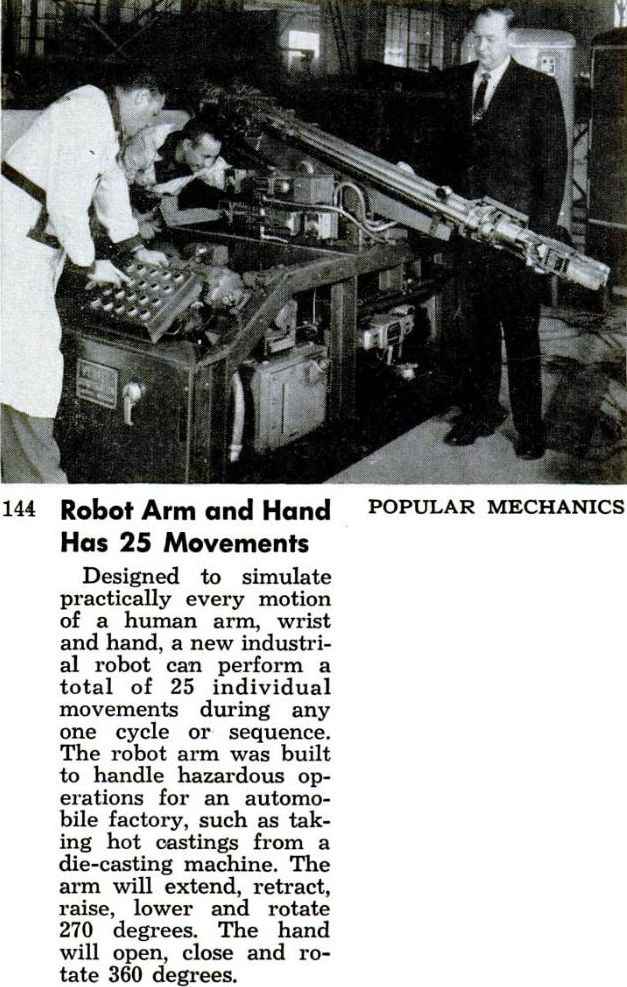planobot PM dec57 2 x640 1956   PLANOBOT Pick and Place Industrial Robot   Joe B. Brown (Planet Corp.)