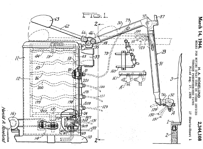 1934 78   Spray paint robot patents   Pollard Jr, Pollard, Roselund and DeVilbiss Comp.   (American)