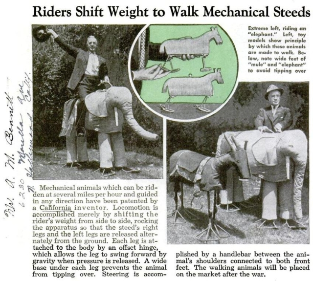 walking el popmecnov1944 x640 Mechanical Elephants   Miscellaneous Material
