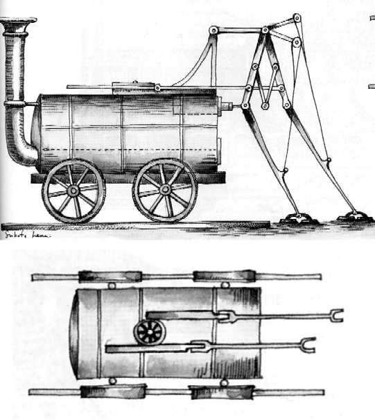 1813 - Steam Carriage with Legs and Feet - Brunton (British) -  cyberneticzoo.com